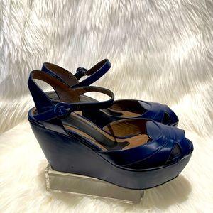 Marni blue leather peep toe sandals(gently worn)